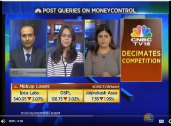 Ashish Kyal, CMT on CNBC TV18 discussing Short Term Trading Strategy on SBI
